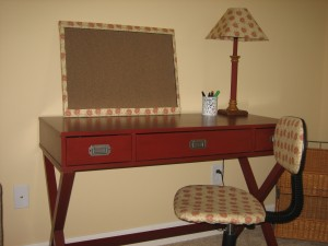 desk and board and lamp